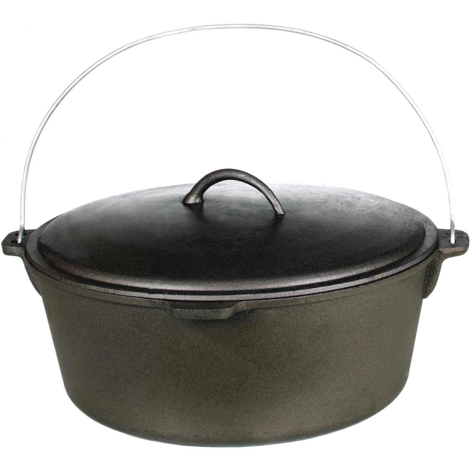 Cajun Cookware Dutch Ovens With Basket 21 Quart Seasoned Cast Iron Dutch Oven