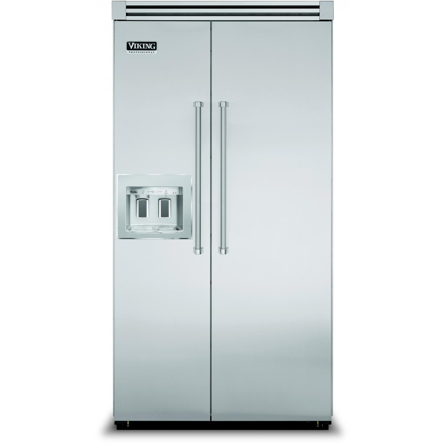 Viking VISB542D 27.1 Cu. Ft. Capacity Professional Series Built In Side By Side Integrated Refrigerator With Dispenser - Requires Custom Panel