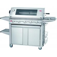BeefEater Signature Premium 38-Inch 5-Burner Propane Gas Grill On Cabinet Trolley Cart W/ Shelves