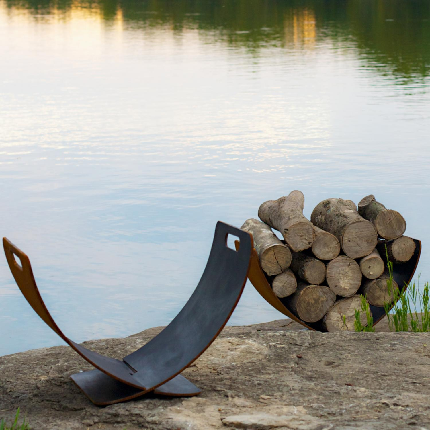 Picture of Fire Pit Art Wings Of Flight Log Rack