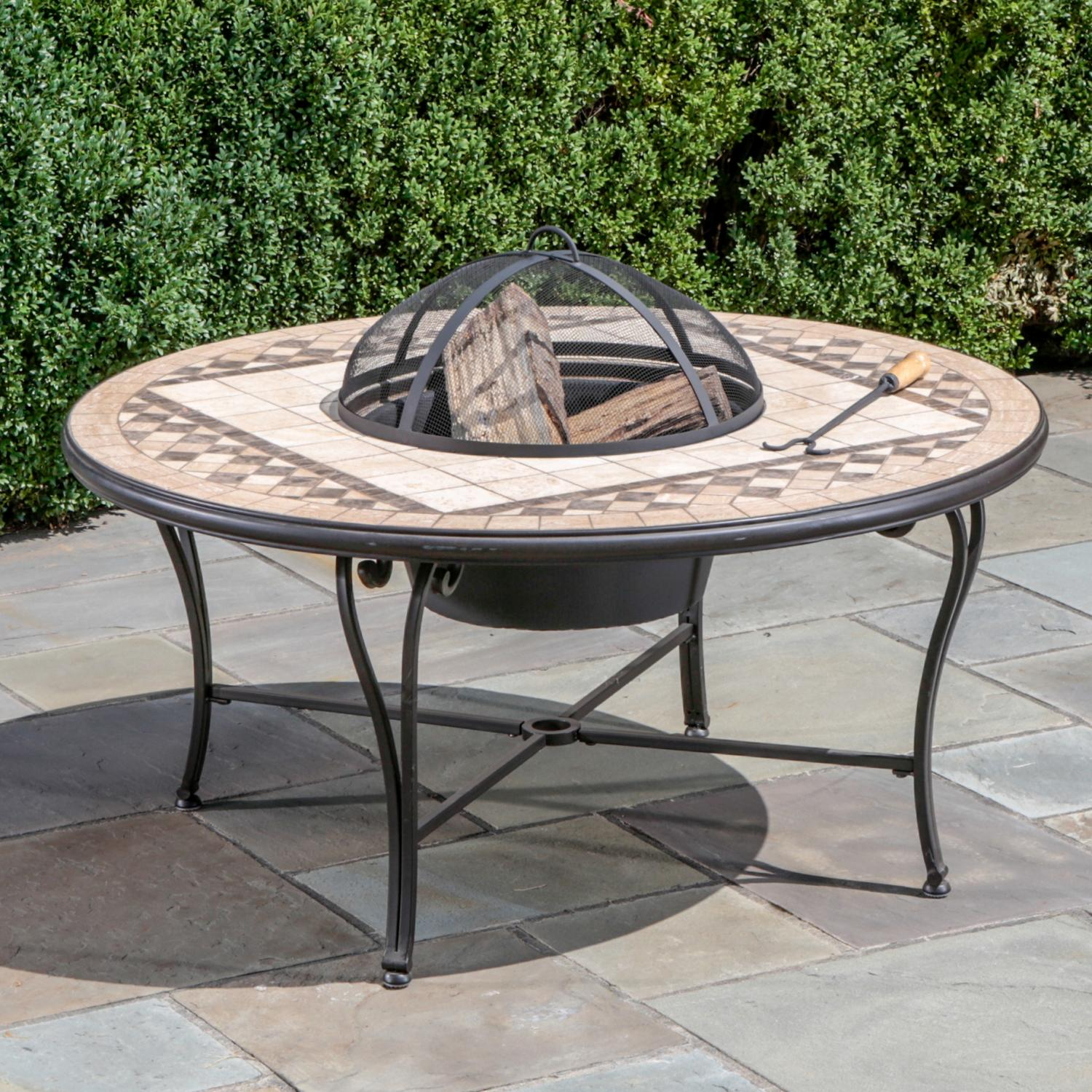 Picture of Alfresco Home Basilica Mosaic Fire Pit & Beverage Cooler Table