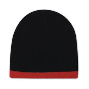 Otto Cap 8 Inch Acrylic Knit Trimmed Beanie - Black/Red