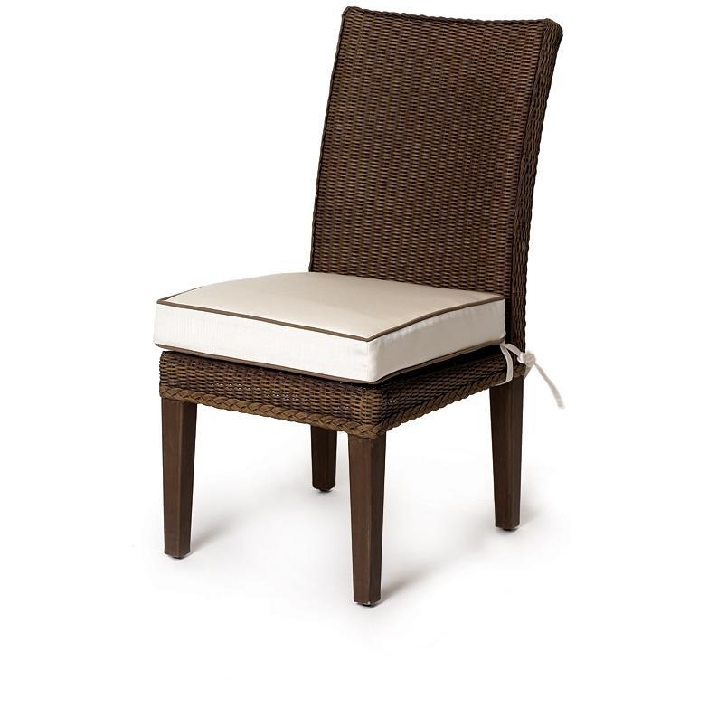 Lloyd Flanders Hamptons Lloyd Loom Wicker Outdoor Patio Armless Dining Chair - Sable Finish