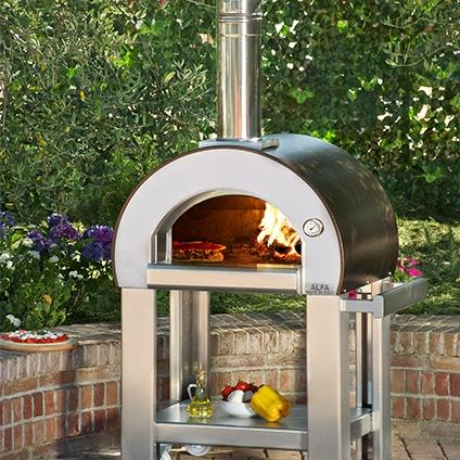 Picture of Alfa Forno 5 Minuti Wood Burning Pizza Oven On Cart - Copper