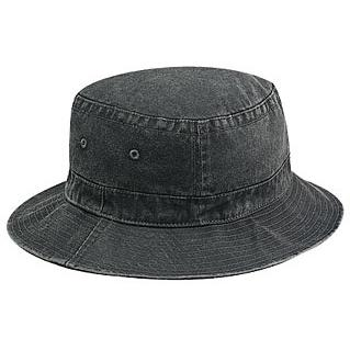 Otto Cap Washed Pigment Dyed Cotton Twill Bucket Hat S/M - Black
