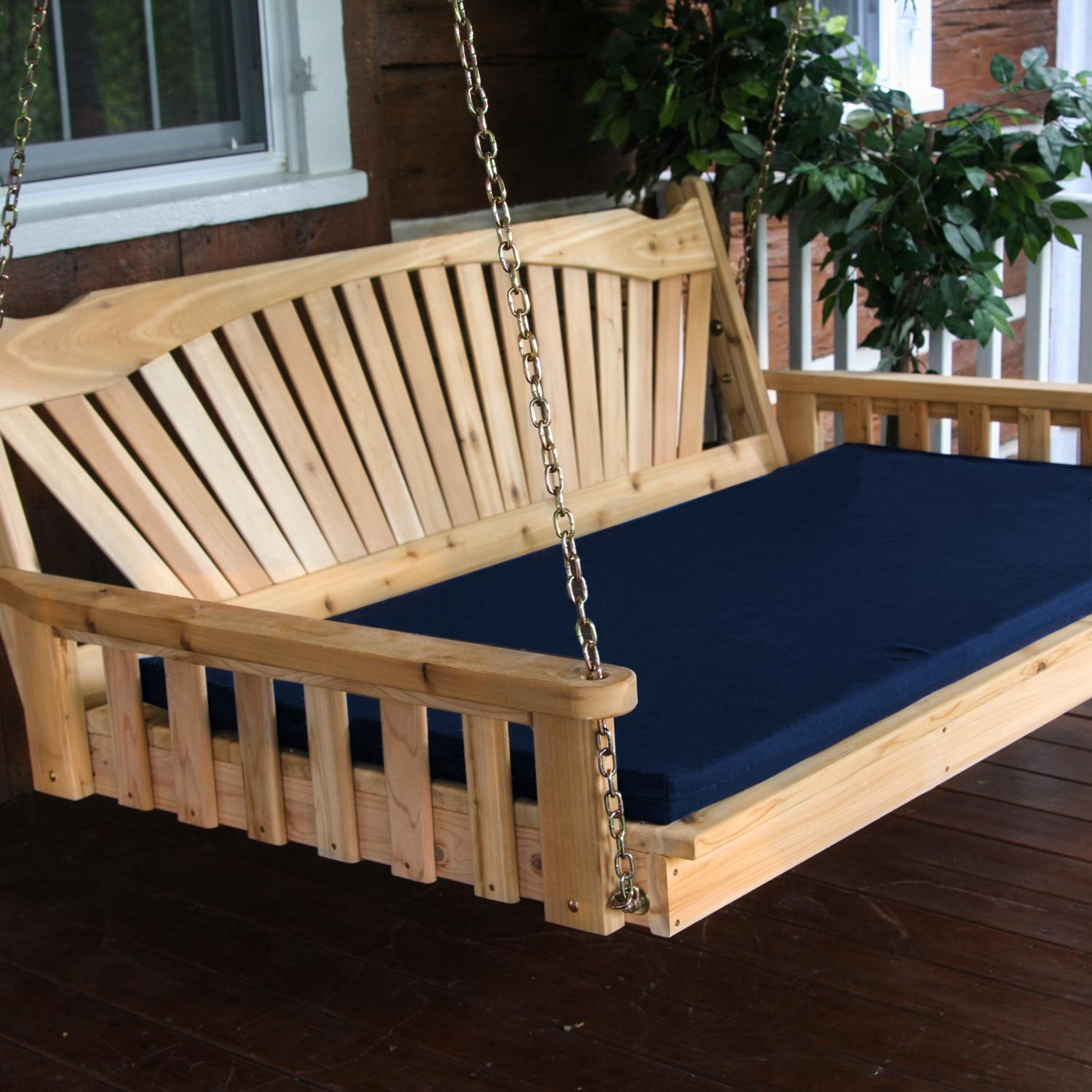 Picture of A&L Furniture Fanback 4 Foot Cedar Outdoor Swing Bed With Cushion