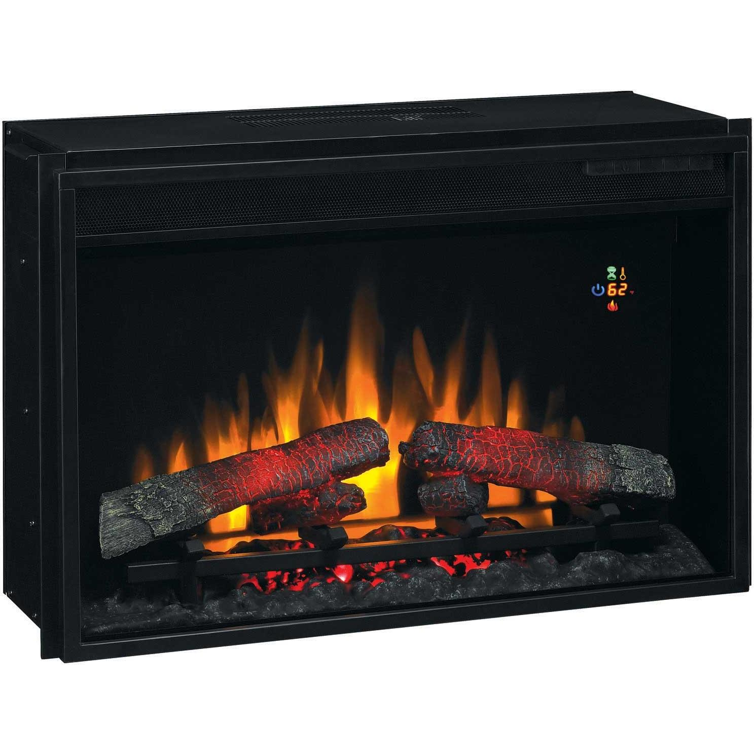 ClassicFlame 26EF022GRA 26 Inch Fixed Front Electric Fireplace Insert With Backlit Display And Remote - Black