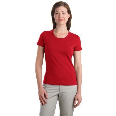 Port Authority Ladies Modern Stretch Cotton Scoop Neck Shirt Medium - Scarlet Red