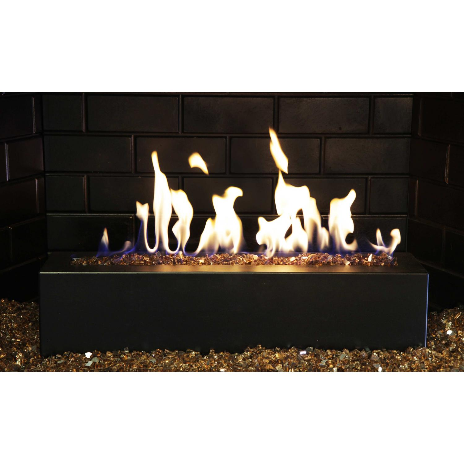 Picture of Golden Blount 24-Inch Alpine Linear Burner With Decorative Black Front Face And Copper Reflective Fire Glass