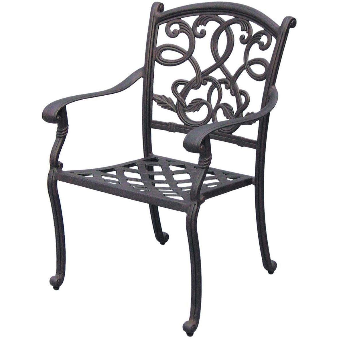 Darlee Santa Monica Cast Aluminum Outdoor Patio Dining Chair With Cushion - Antique Bronze