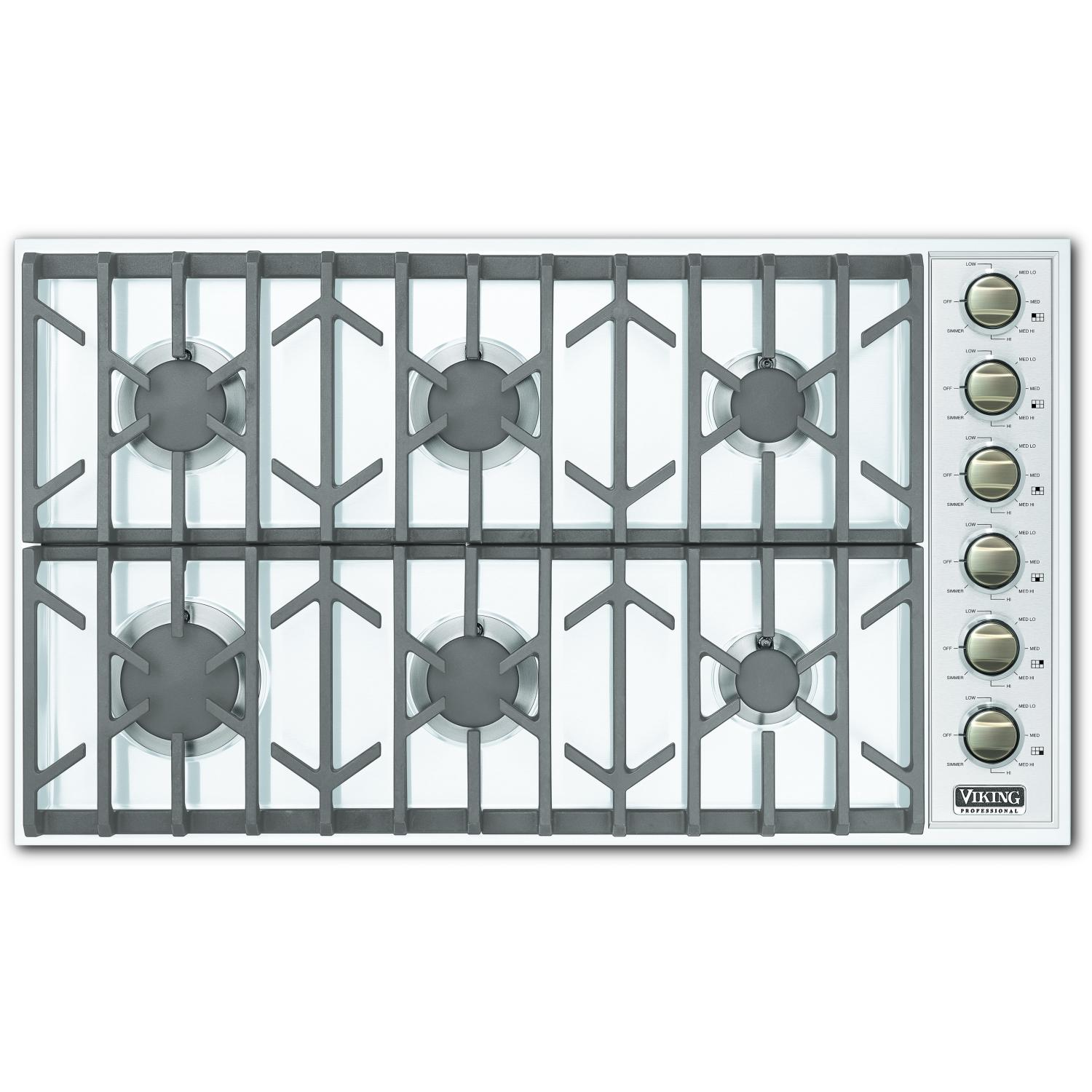 Viking VGSU164-6B 36-Inch Professional Series Natural Gas Cooktop With 6 Burners - White
