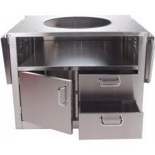 Stainless Steel Cart For Extra Large Big Green Egg Ceramic Grills BBQ Guys Stainless Steel Kamado Cart Open With Shelves Down