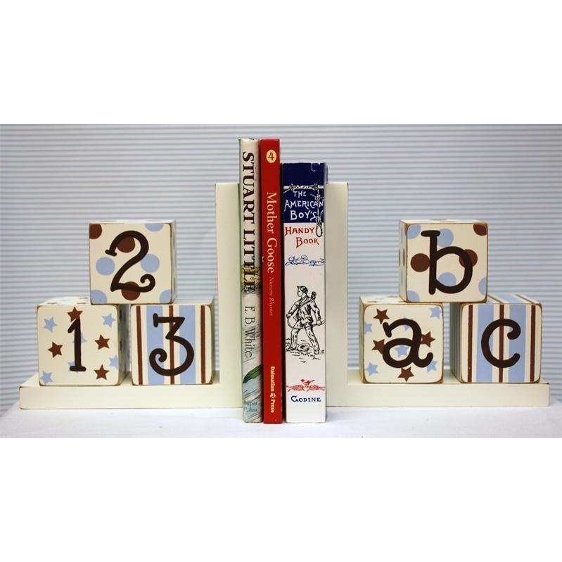 New Arrivals Wooden ABC Block Bookends - Blue/Chocolate