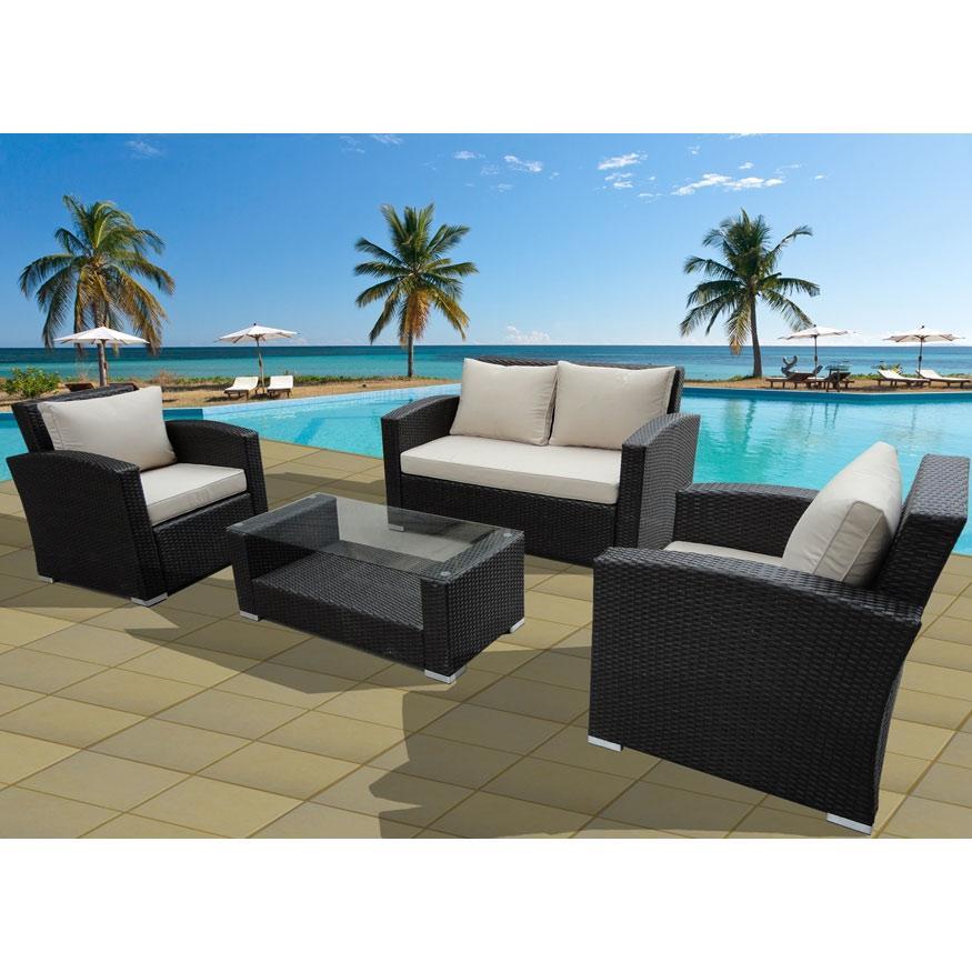 Key West 4 pc Resin Wicker Patio Lounge Set W/ Cushions