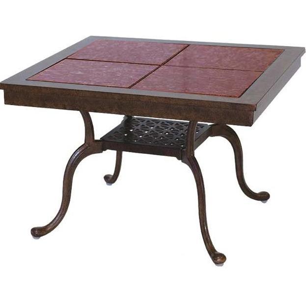 Darlee Series 77 Granite Top Outdoor Patio End Table - 28  X 28 Inch Square - Mocha Base / Ruby Granite Tile