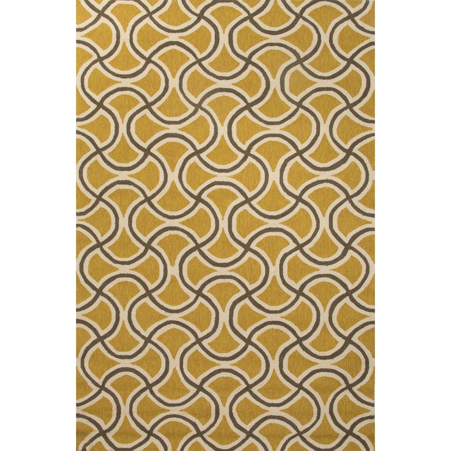 Picture of Jaipur Rugs Barcelona Barbells 2 X 3 Indoor/Outdoor Rug - Yellow/Taupe