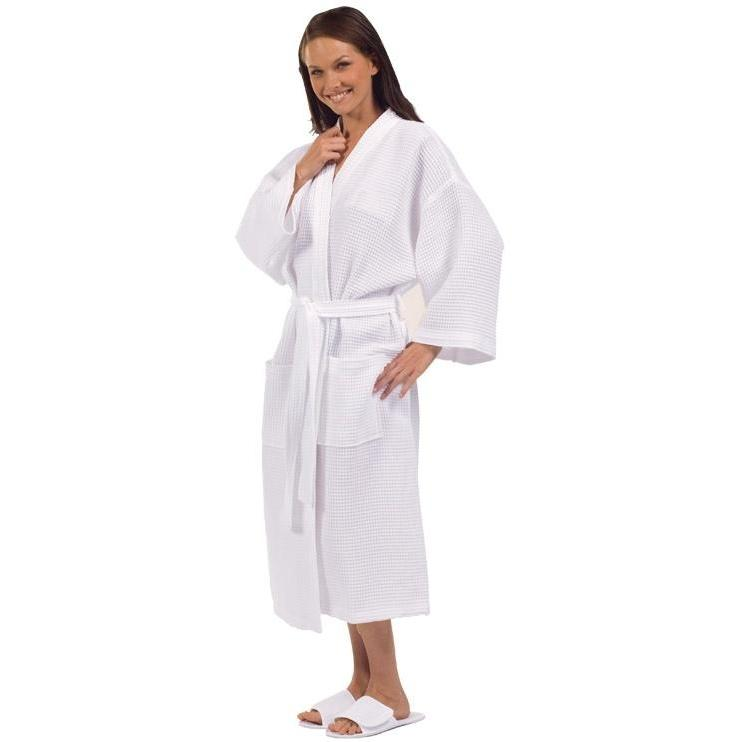 Terry Town Cotton Waffle Weave Kimono Robe One Size Fits Most - White
