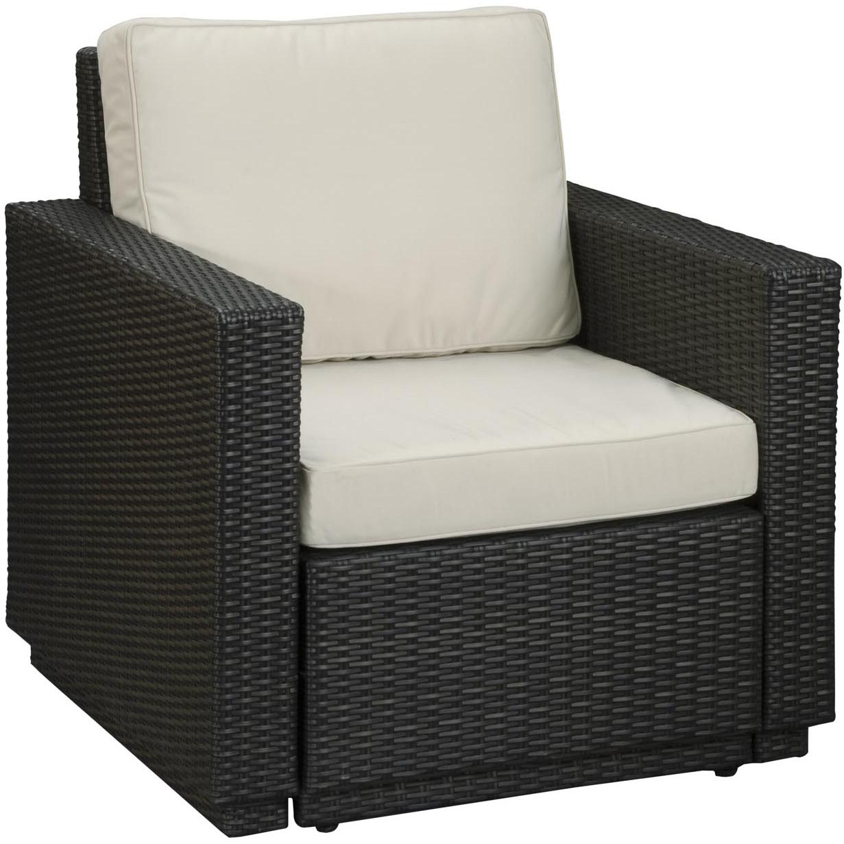 Home Styles Riviera Resin Wicker Outdoor Patio Arm Chair With Cushion - Stone Fabric