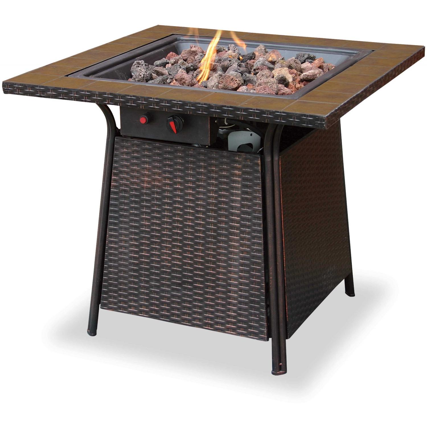 UniFlame 32 Inch Propane Fire Pit With Electronic Ignition