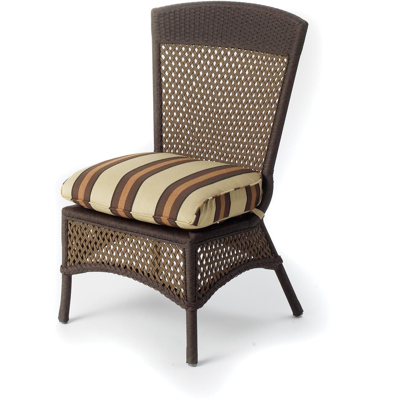 Lloyd Flanders Grand Traverse Woven Vinyl Outdoor Patio Armless Dining Chair - Caramel Finish