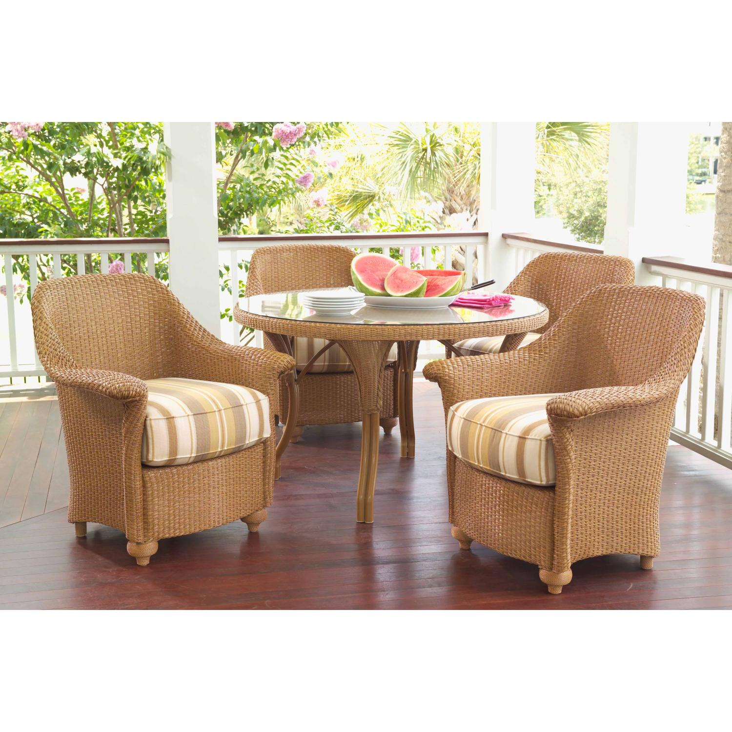 Lloyd Flanders Oxford Lloyd Loom Wicker Outdoor Patio Dining Set - Bamboo Finish - 5 Piece Set
