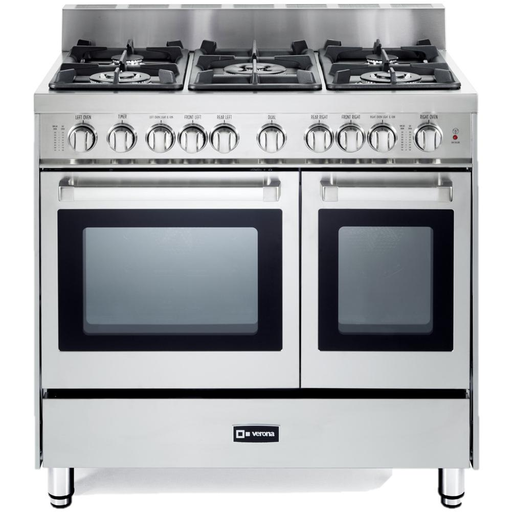 Double Oven Slide In Electric Range Stainless Steel Verona VEFSGG365NDSS 36 inch 5 Burner Double Oven Gas ...