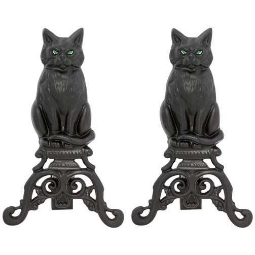 UniFlame 17 Inch Black Cast Iron Cat Andirons With Reflective Glass Eyes