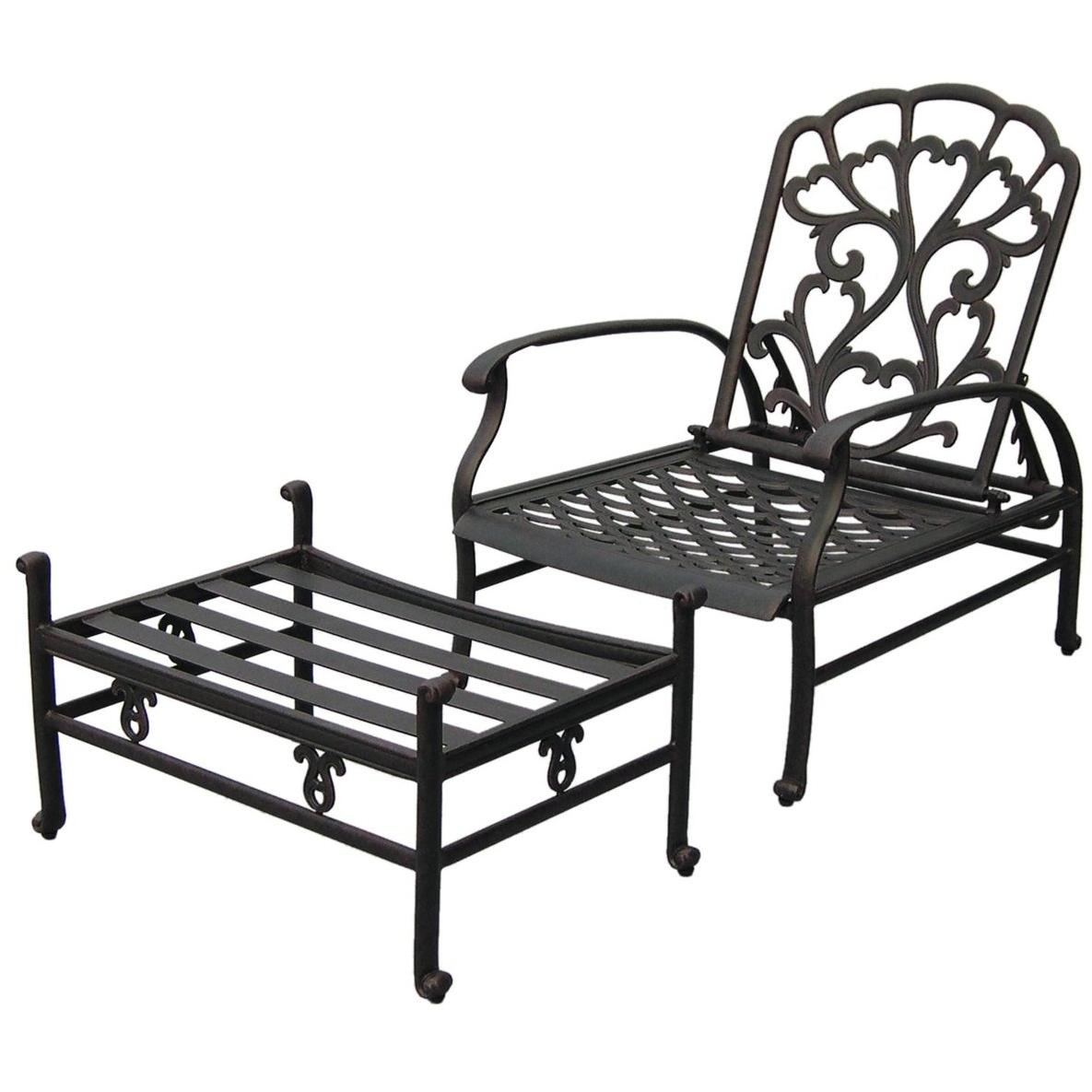 Darlee Catalina Adjustable Cast Aluminum Outdoor Patio Club Chair And Ottoman With Cushions - Antique Bronze