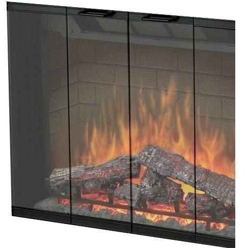 Picture of Dimplex 33-Inch Glass Fireplace Door With Bi-Fold Look - BFDOOR33BLKSM