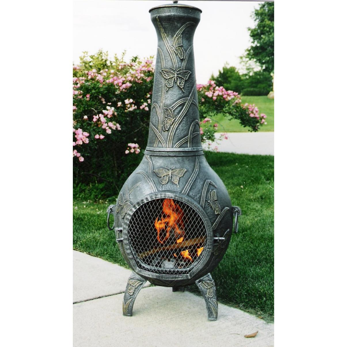 Oakland Living Butterfly Chimenea - Antique Pewter