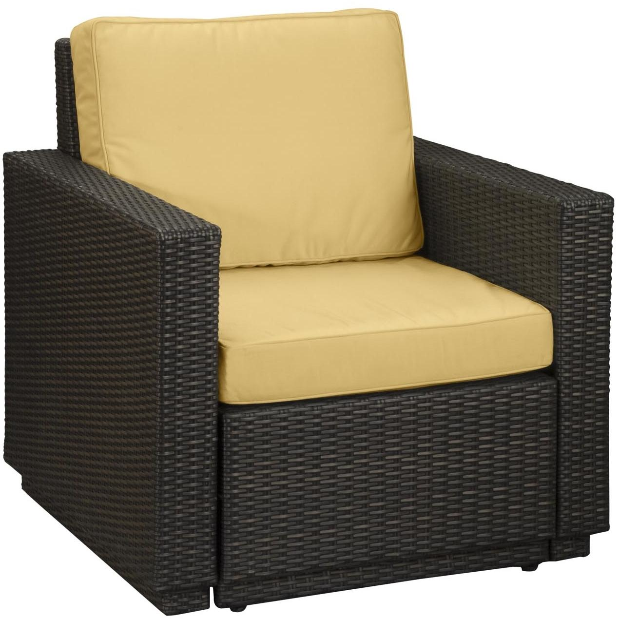 Home Styles Riviera Resin Wicker Outdoor Patio Arm Chair With Cushion - Harvest Fabric