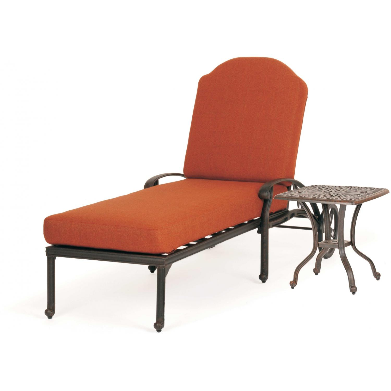 Caluco Florence Aluminum Chaise Lounge Set With End Table