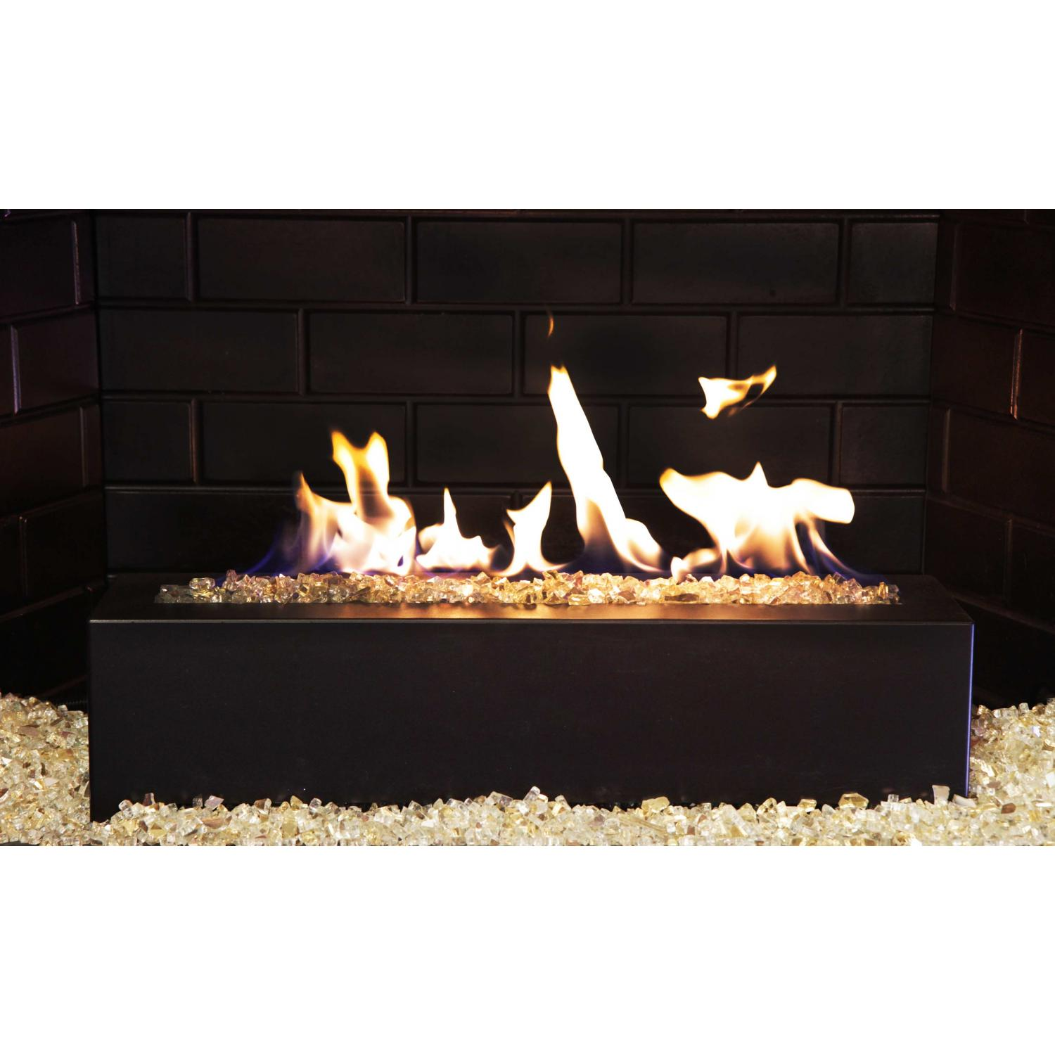 Picture of Golden Blount 24-Inch Alpine Linear Natural Gas Burner With Decorative Black Front Face And Gold Reflective Fire Glass