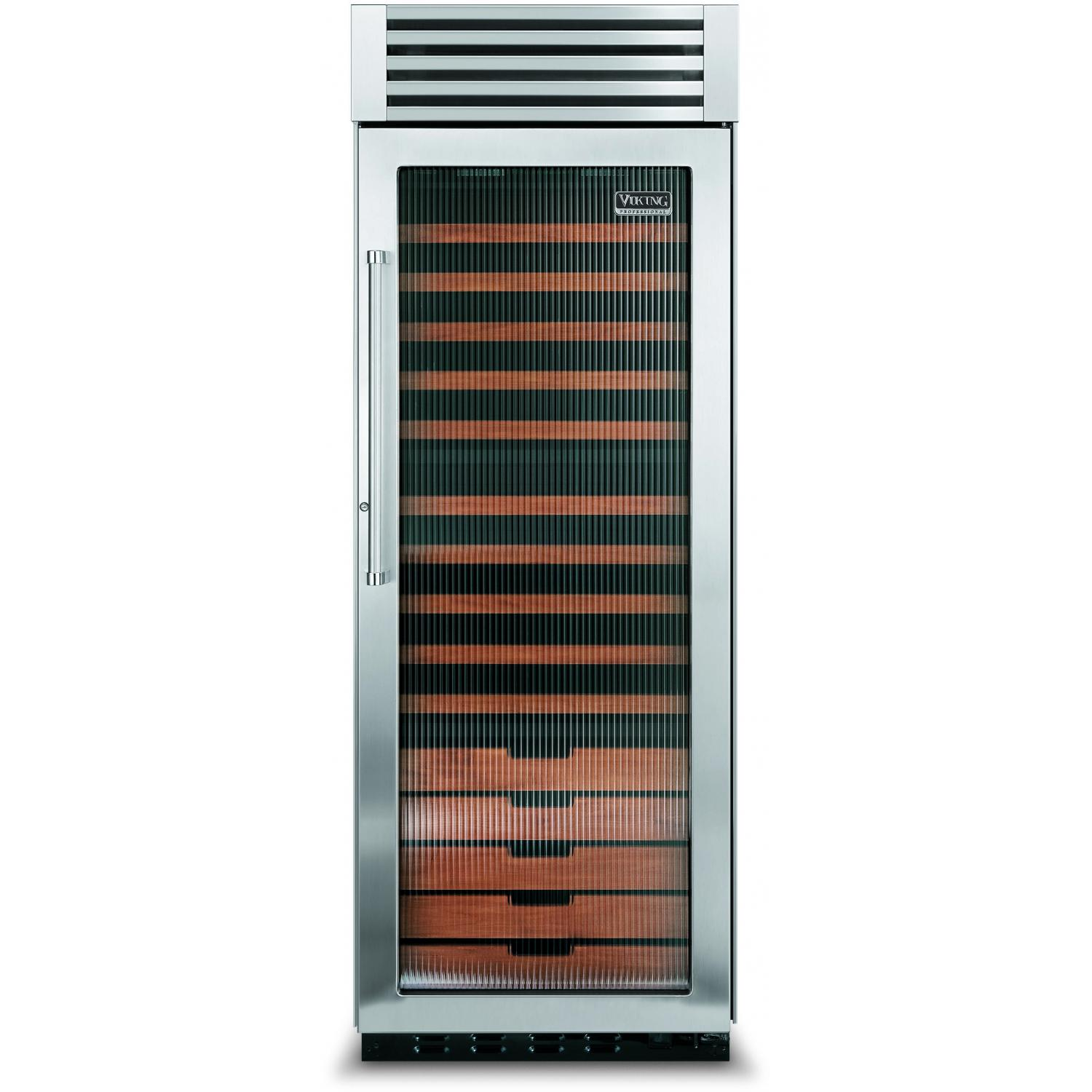 Viking VCWB300FR 150 Bottle Professional Series Built In Triple Zone Right Hinge Beverage Cooler - Fluted Glass Door