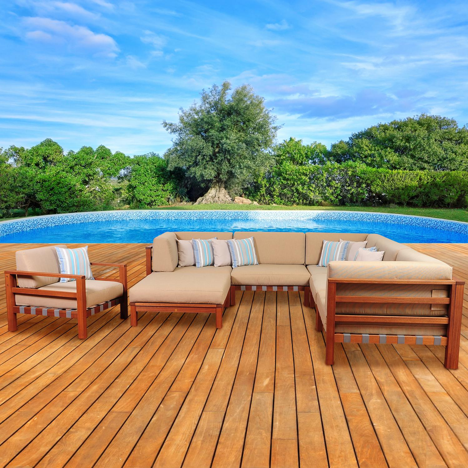 Picture of Amazonia Derbyshire 5-Person Eucalyptus Patio Sectional Set With Club Chair By Jamie Durie