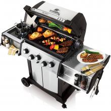 Broil King Signet 90 3-Burner Freestanding Propane Gas Grill With Rotisserie & Side Burner - Stainless Steel Broil King Signet 90 3-Burner Freestanding Gas Grill - Angled View With Food