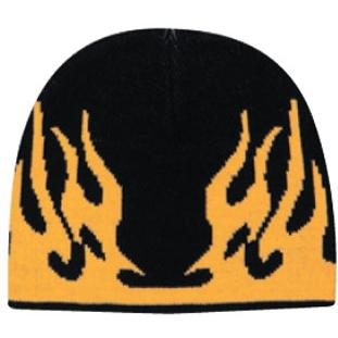 Otto Cap 8 Inch Flame Design Acrylic Knit Beanie - Black/Gold