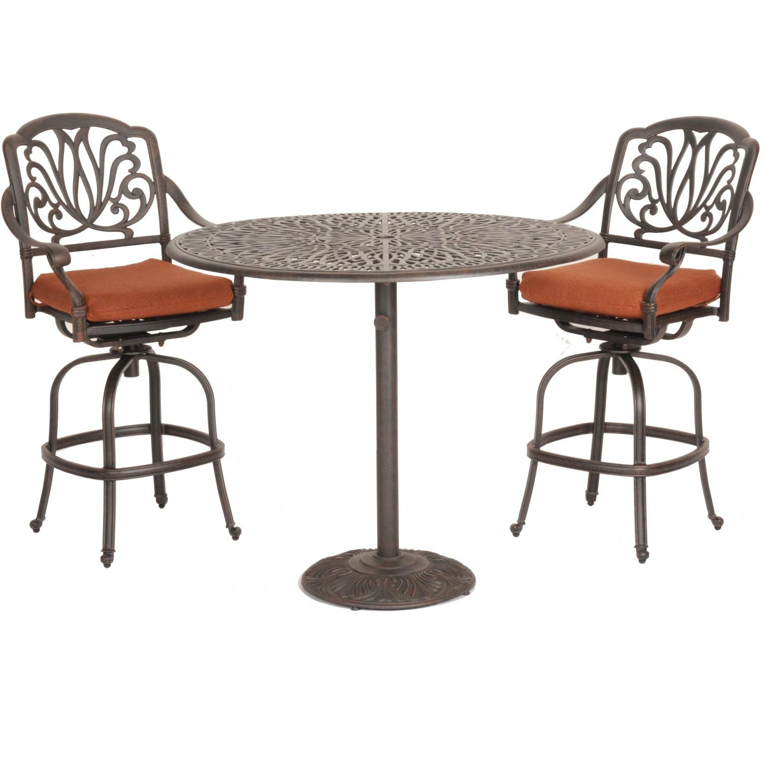 Caluco Florence Aluminum 48 Inch Bar Set With Two Barstools