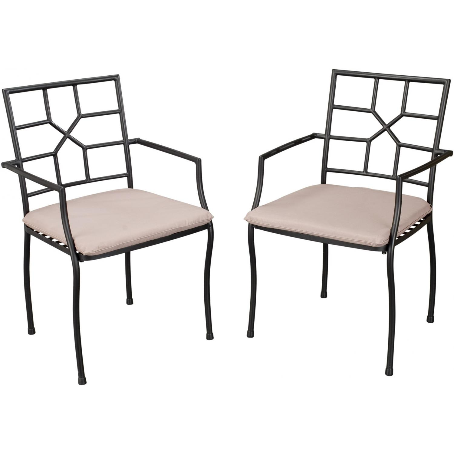 Home Styles Cambria Outdoor Patio Dining Arm Chairs - Set Of 2 - Black