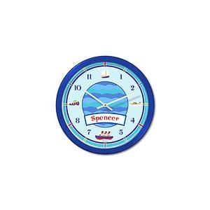 Olive Kids Personalized Wall Clock - Boats & Buoys Blue Frame