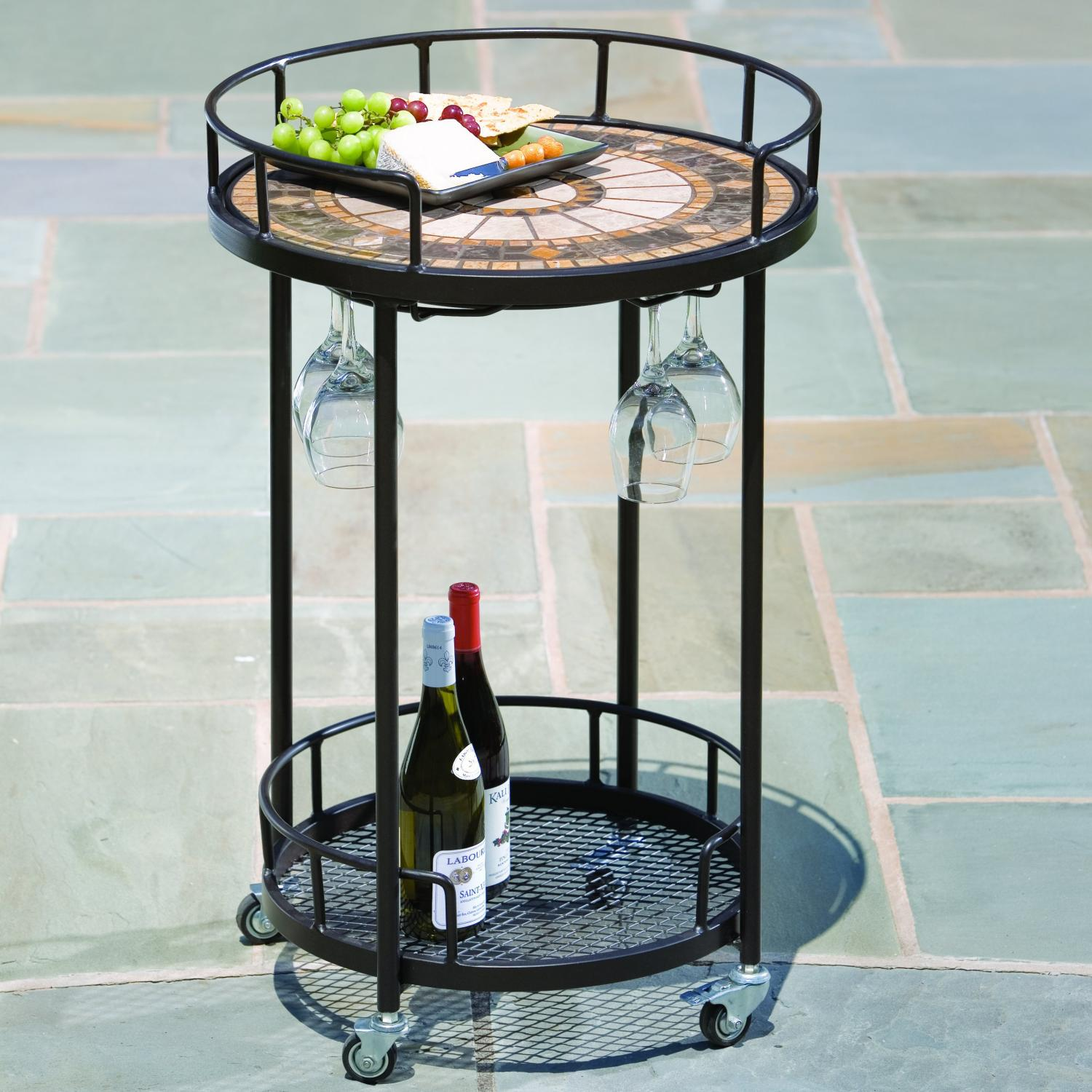 Picture of Alfresco Home Compass Mosaic Outdoor Serving Cart