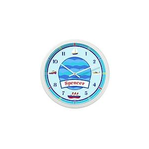 Olive Kids Personalized Wall Clock - Boats & Buoys White Frame