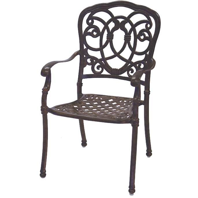 Darlee Florence Cast Aluminum Outdoor Patio Dining Chair - Mocha