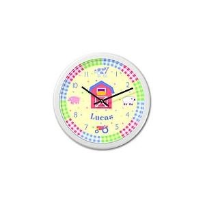 Olive Kids Personalized Wall Clock - Country Baby White Frame
