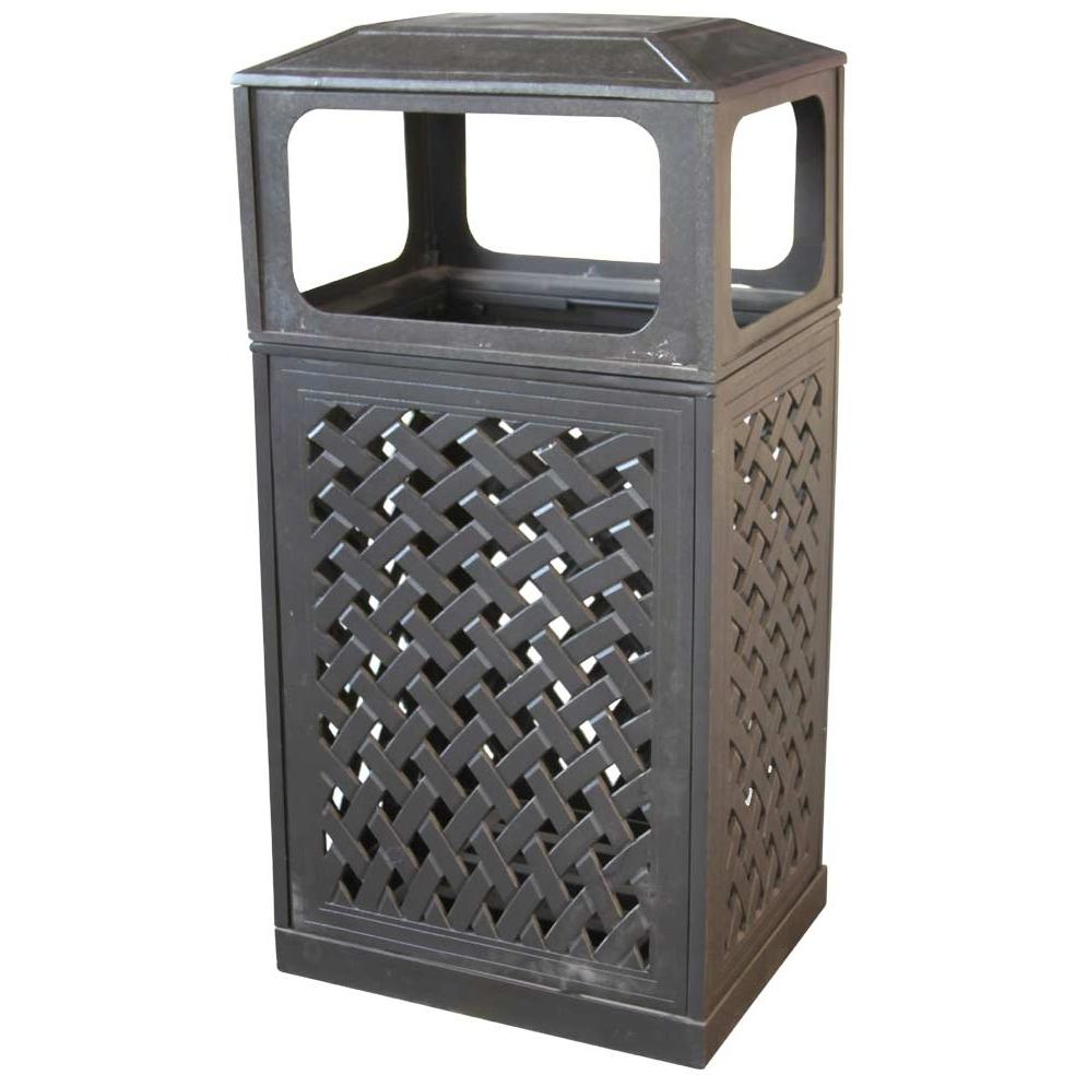Darlee Cast Aluminum Outdoor Patio Trash Receptacle - Mocha