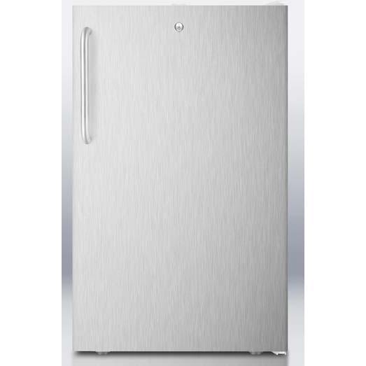 Summit FS407LBISSTB 2.8 Cu. Ft. Capacity Built-In Or Freestanding Compact Freezer - Stainless Steel Door / White Cabinet