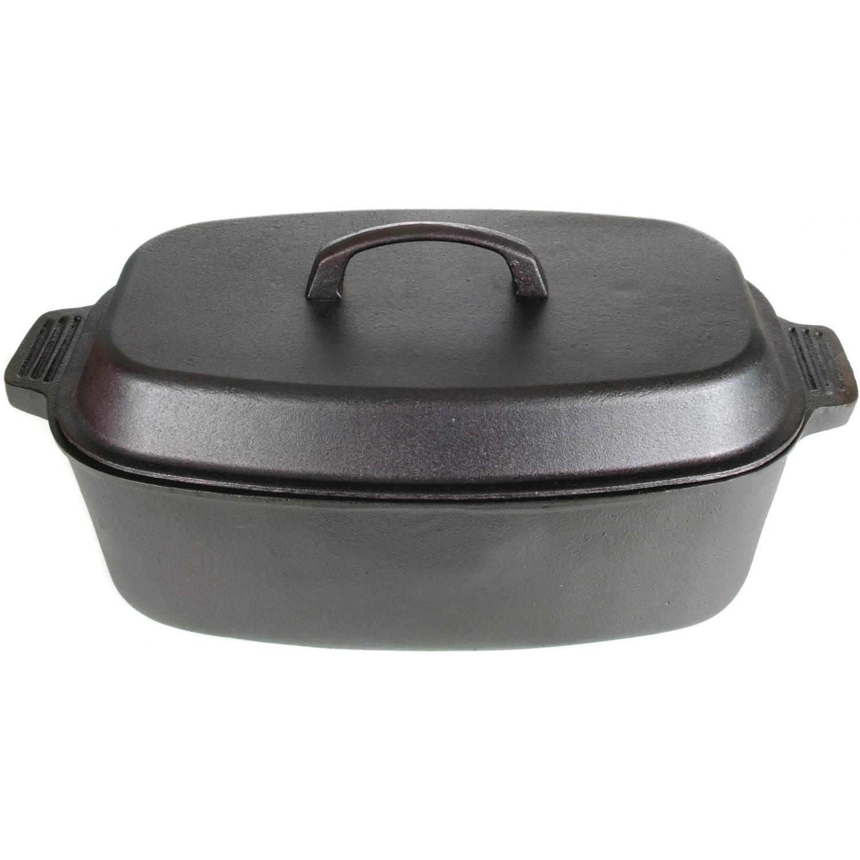 Cajun Cookware Pots With Dome Lid 15 Quart Oval Seasoned Cast Iron Casserole Pot