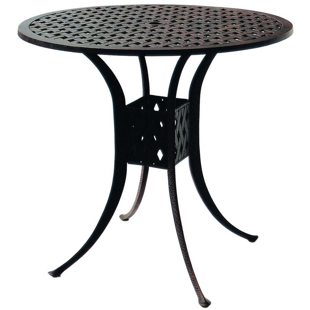 Darlee Series 30 Cast Aluminum Outdoor Patio Bar Table - 42 Inch Round - Antique Bronze