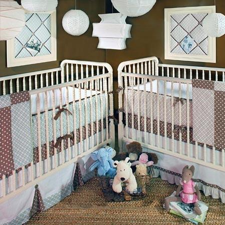 New Arrivals Crib Bumper - Blue Harlequin Baby