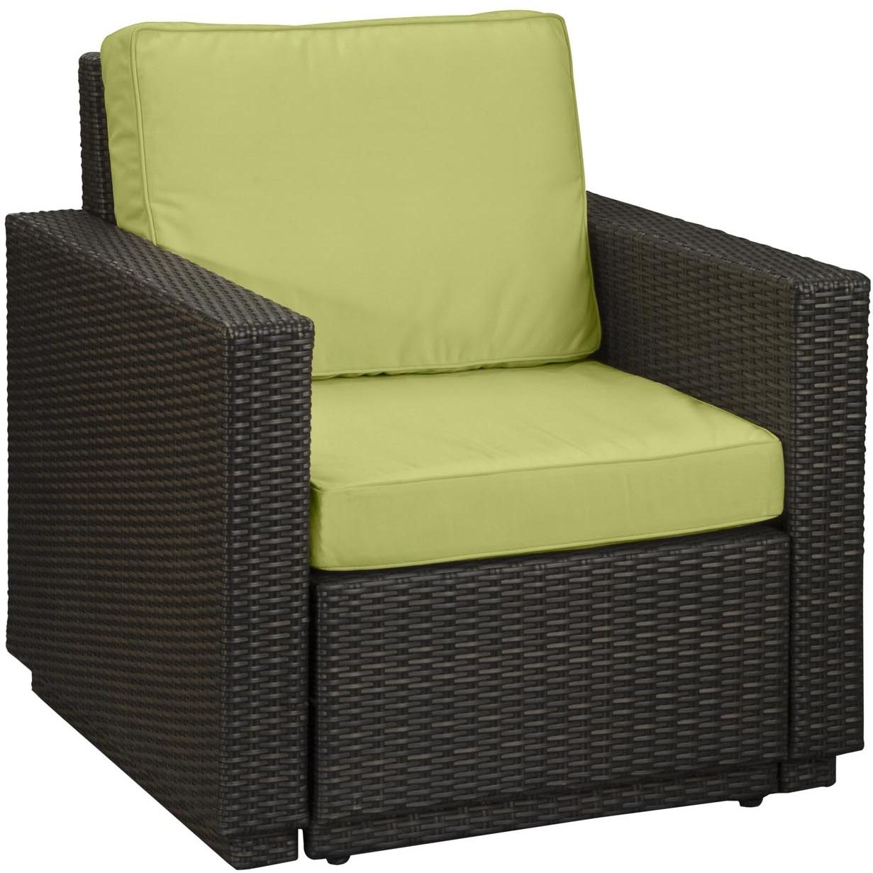 Home Styles Riviera Resin Wicker Outdoor Patio Arm Chair With Cushion - Green Apple Fabric